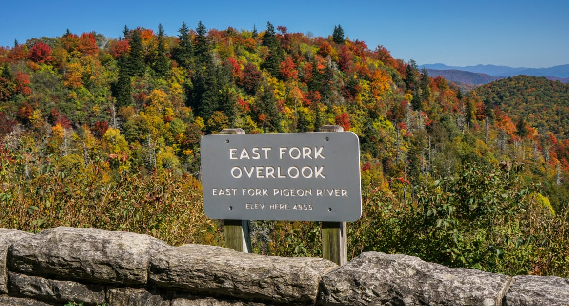 View of Fall colors from East Fork Overlook