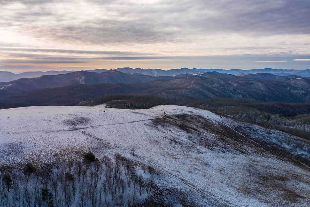 An aerial view of Max Patch in the winter.