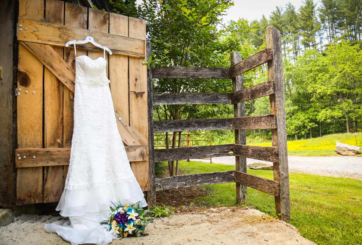 wedding dress hung at Appalachian farm wedding venue