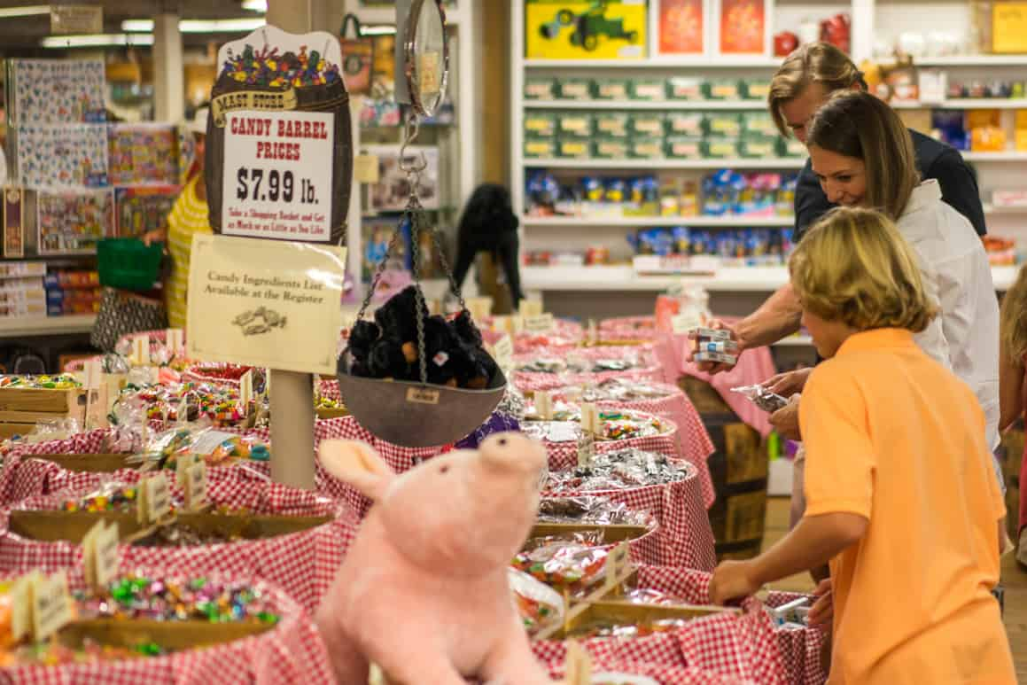 Family shopping for candy at Mast General Waynesville, NC