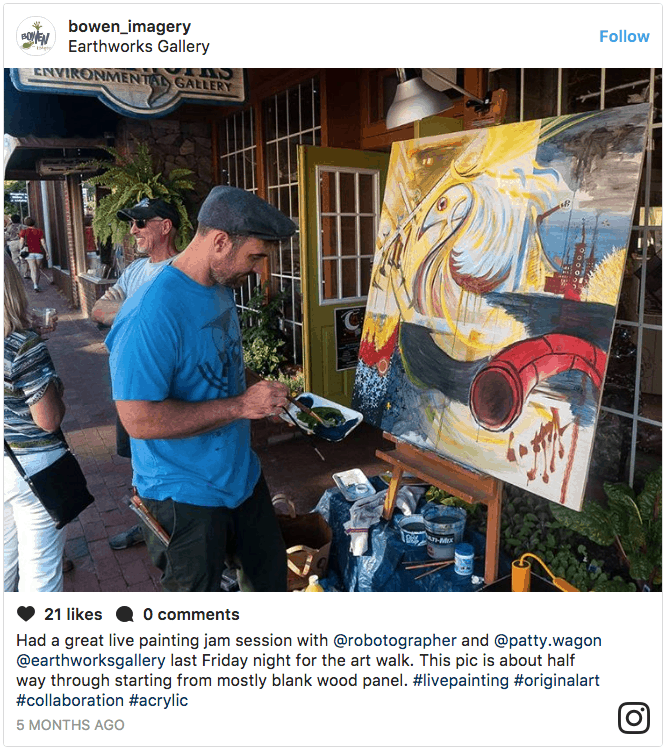 Live painter for Winter Arts Smoky Style in Waynesville