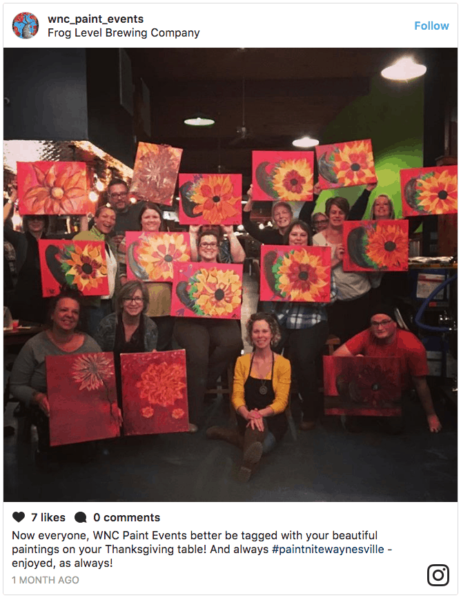 Happy group of women at Paint night at Frog Level Brewing