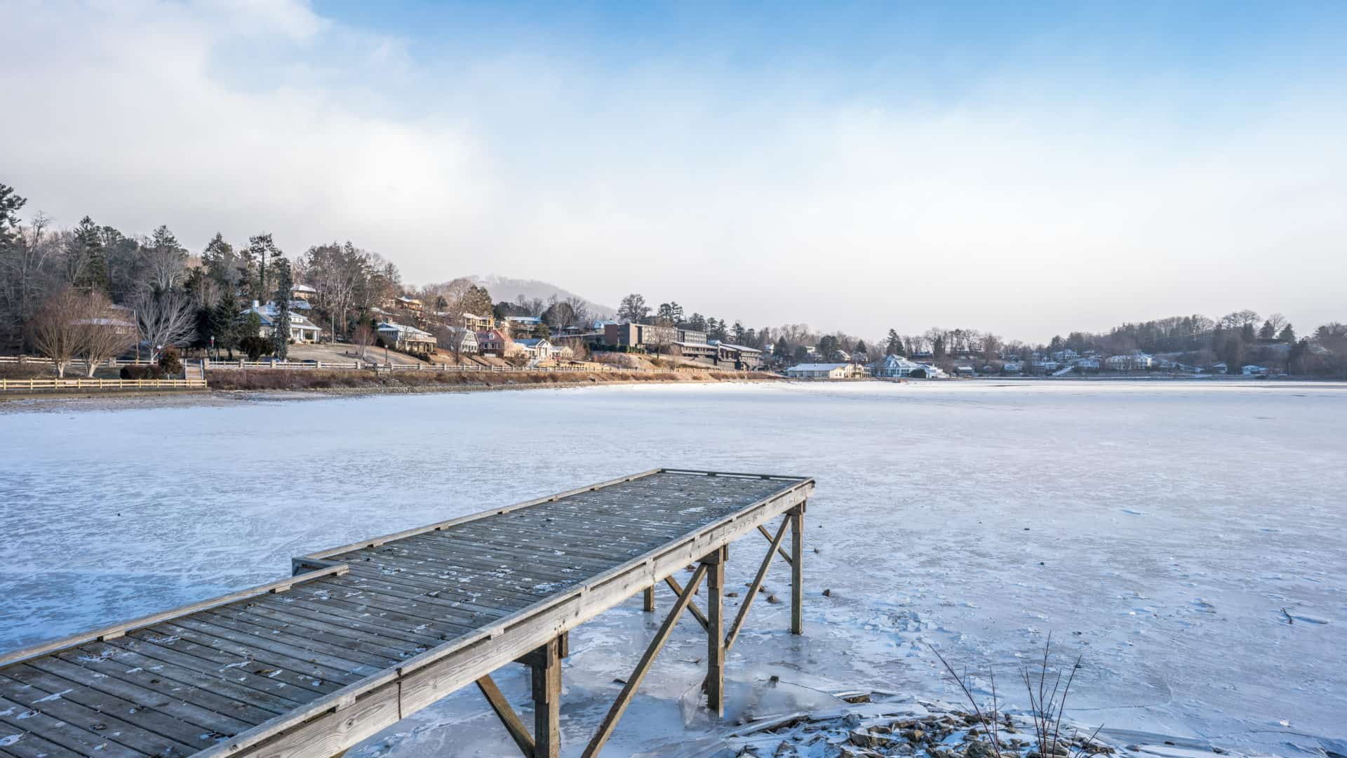 View of frozen Lake Junaluska from pier