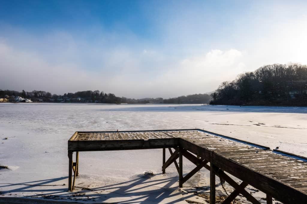 frozen lake junaluska pier