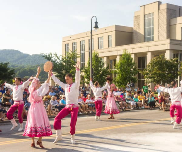 Folkmoot Dancers in the Street of Waynesville