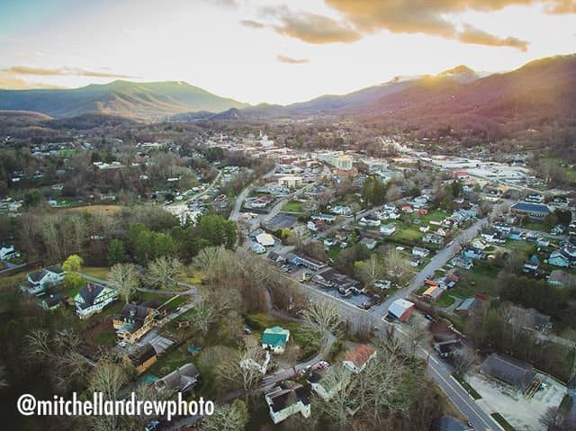Aerial View of Waynesville, NC