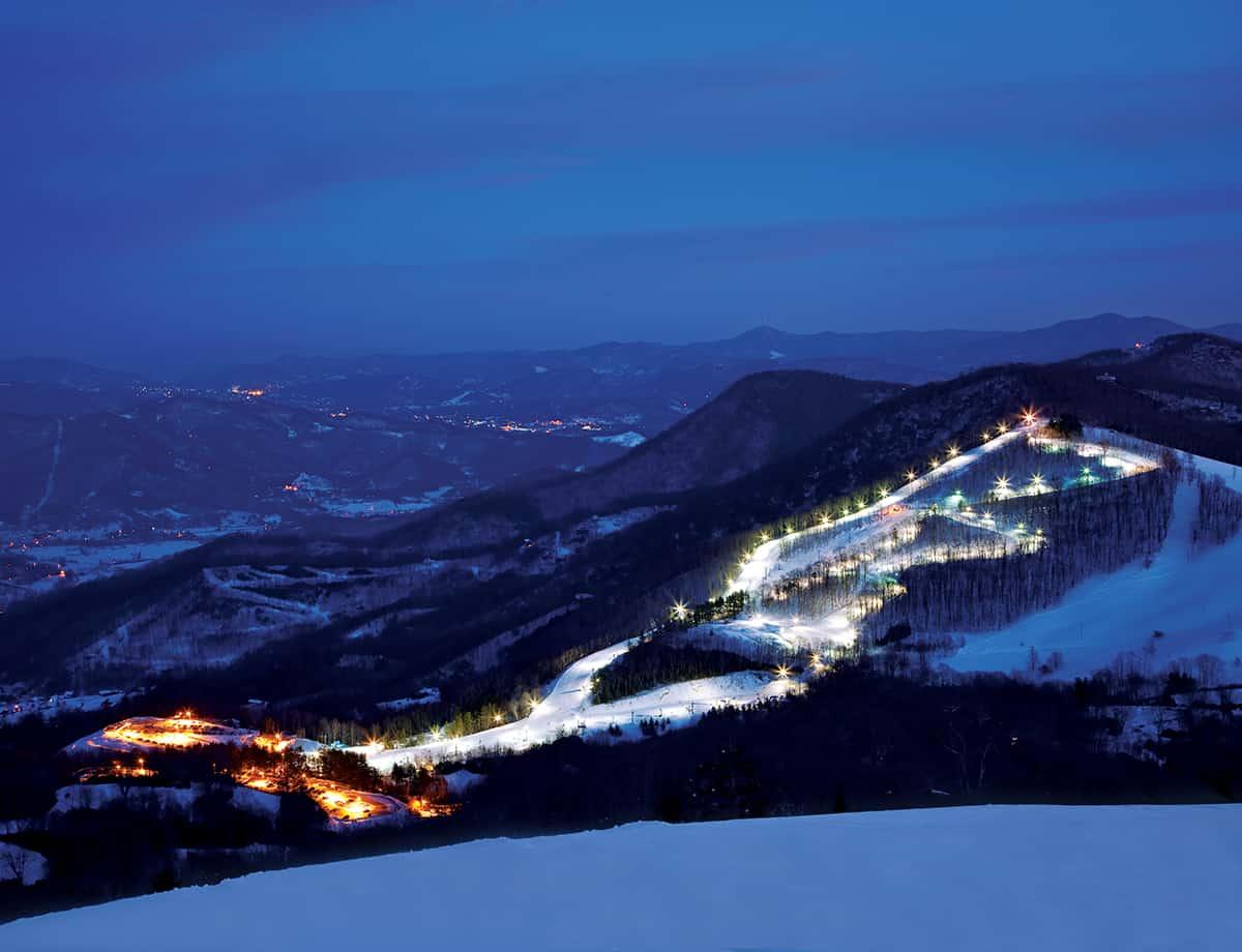Aerial Night Shot of Cataloochee Ski Area