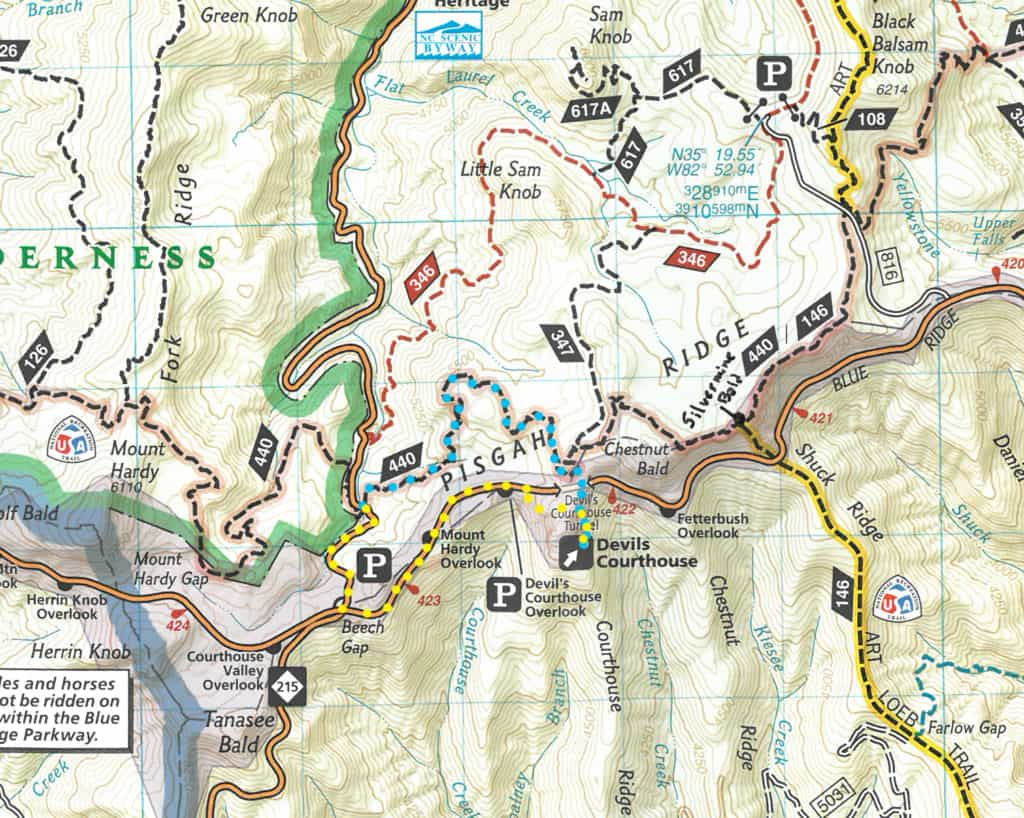 Winter hike to Devils Courthouse Map