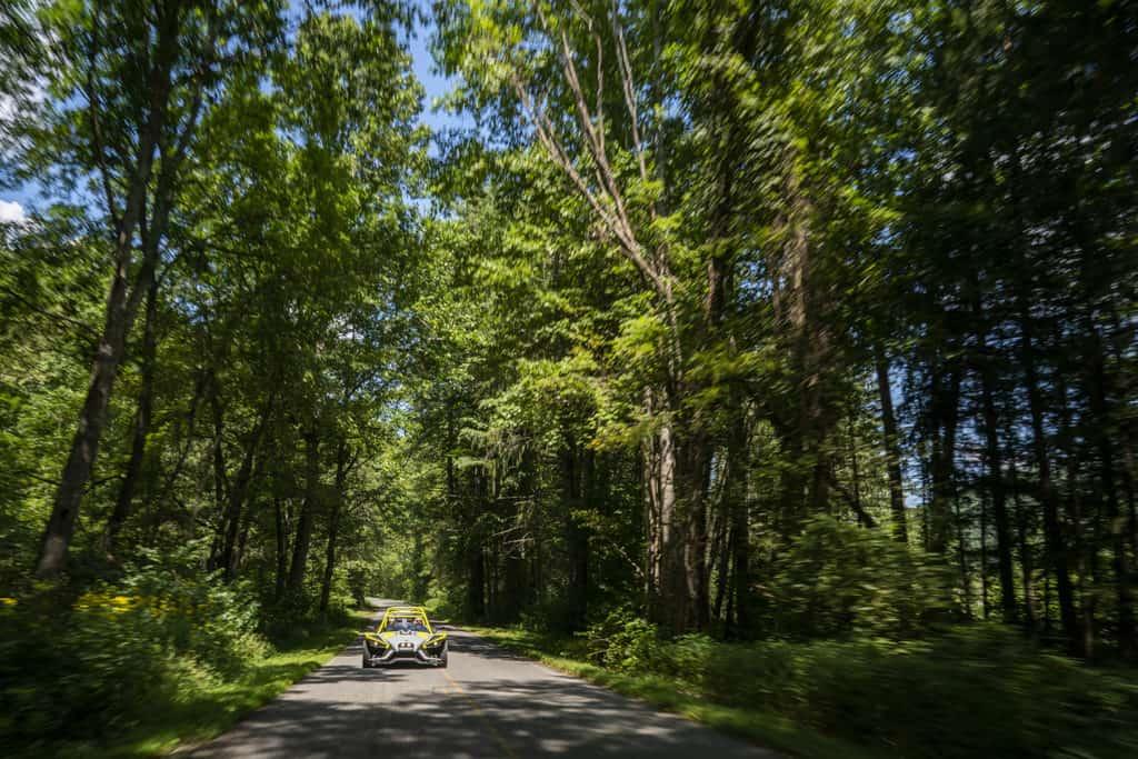 Slingshot cruising through a Haywood County road.