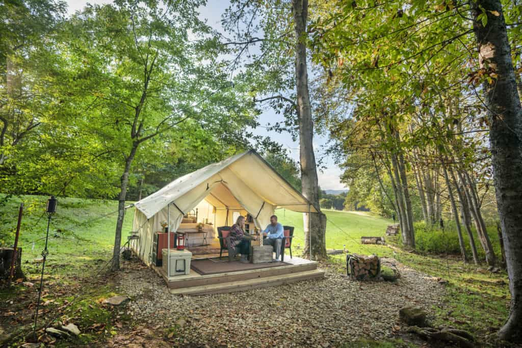 Smoky Mountain Glamping Tent Creekside