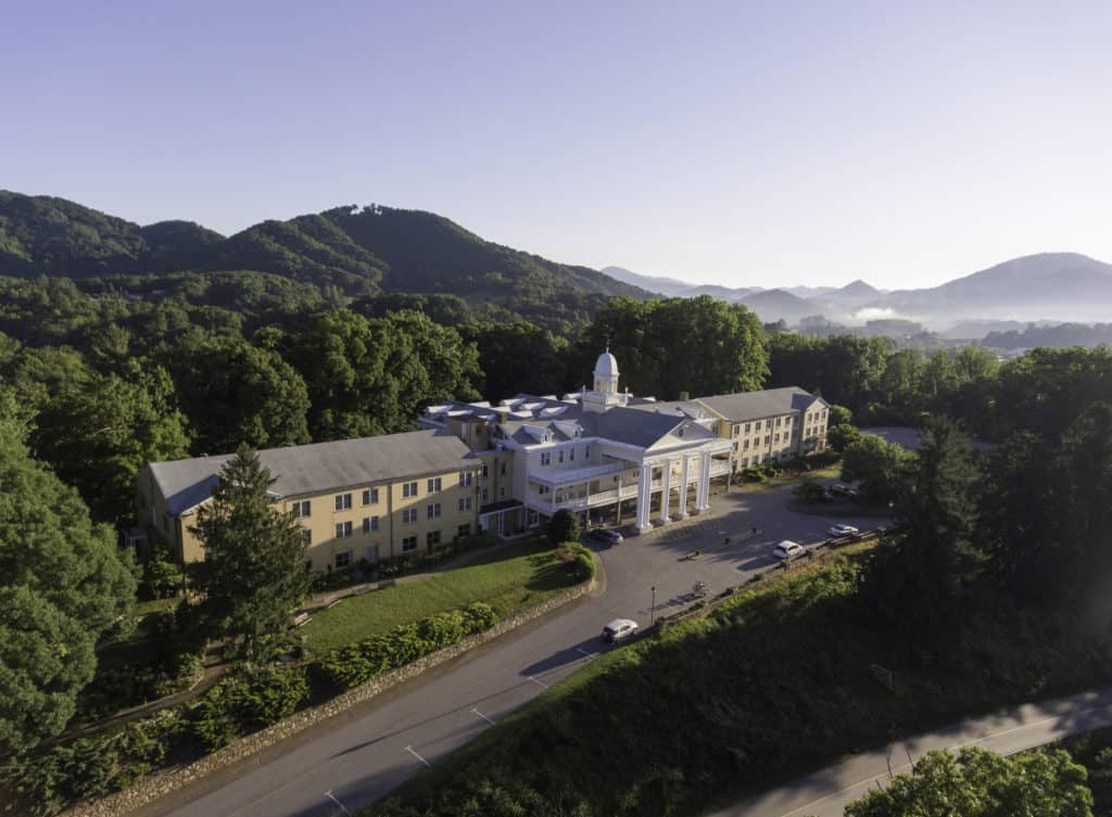 Aerial shot of Lambuth Inn in Lake Junaluska