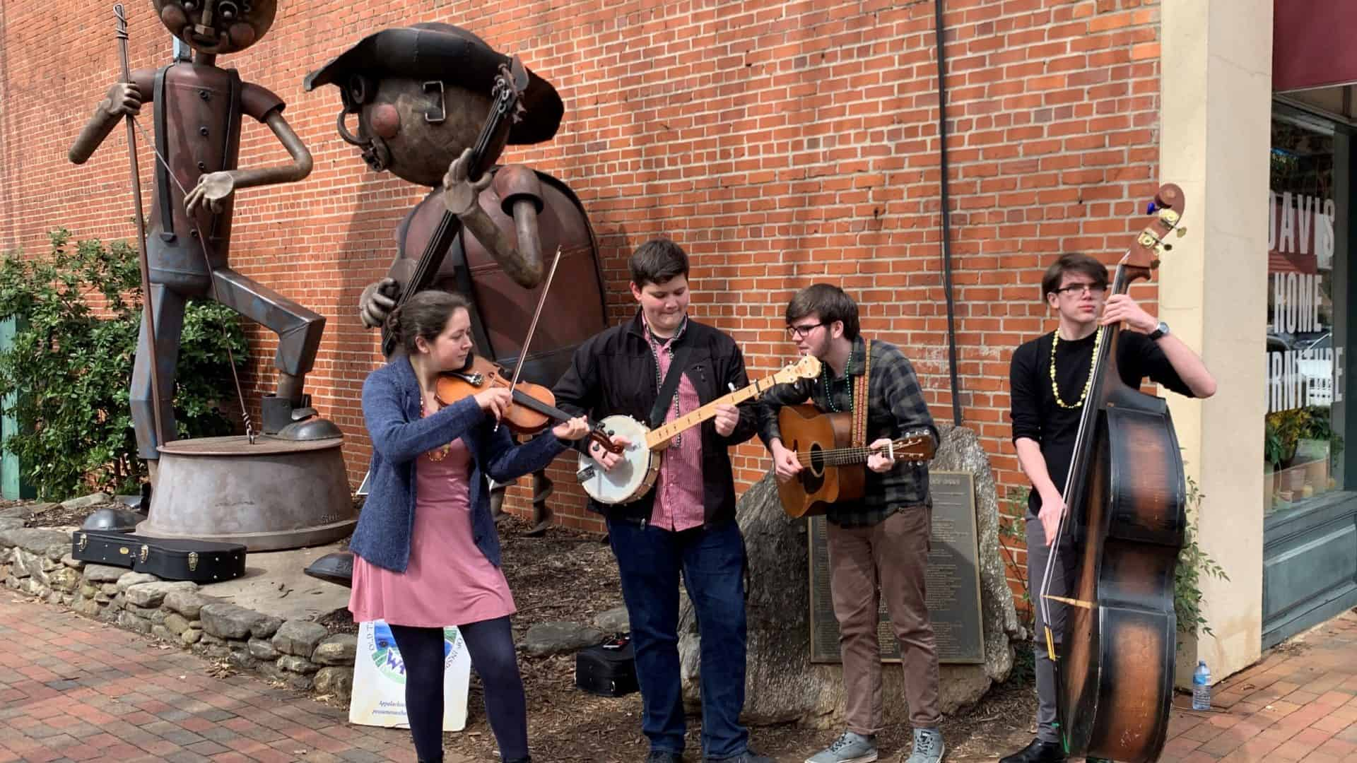 Young musicians performing in Waynesville.