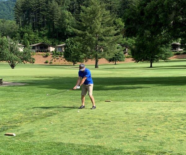 Golfer preparing to a shot at Maggie Valley Club & Resort