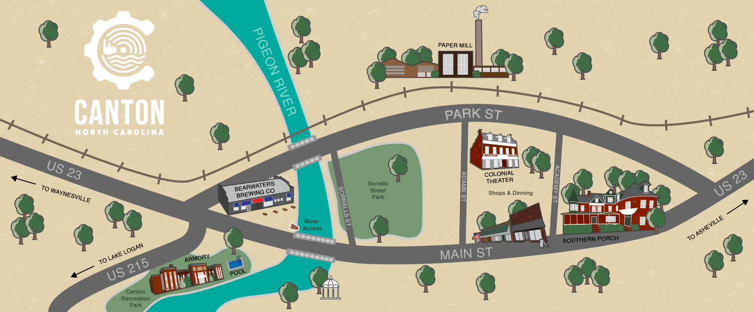 Graphic map of Canton, NC