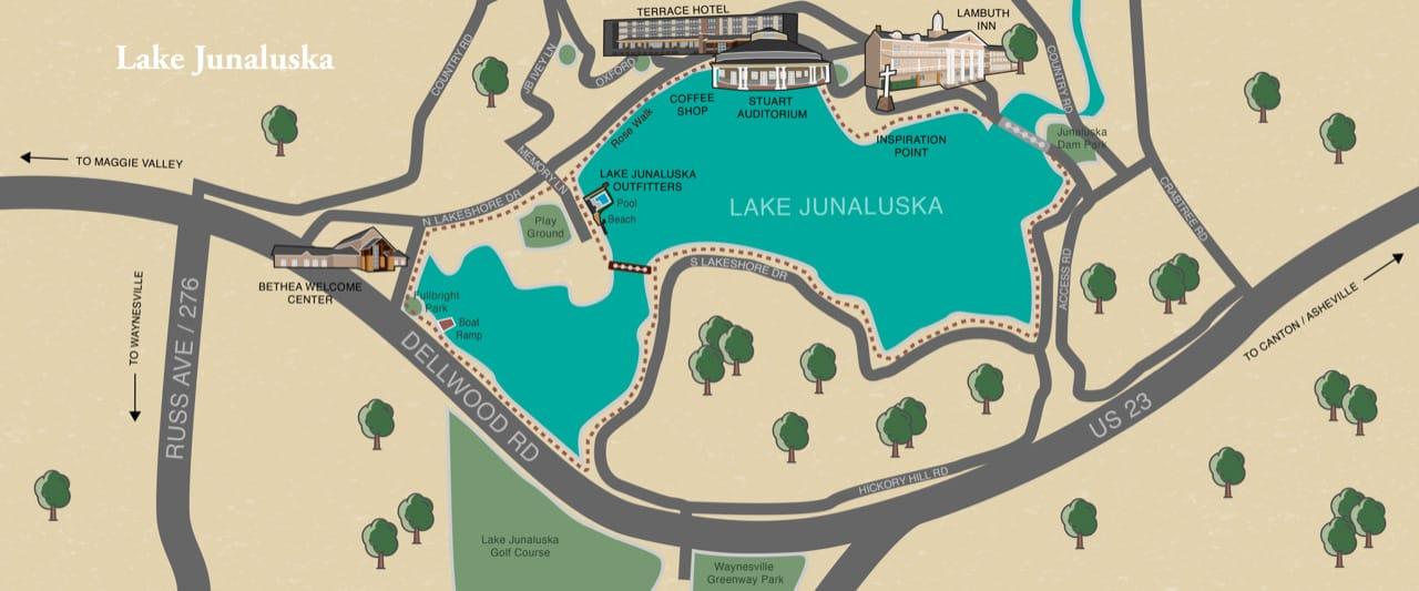 Graphic map of Lake Junaluska and surrounding area